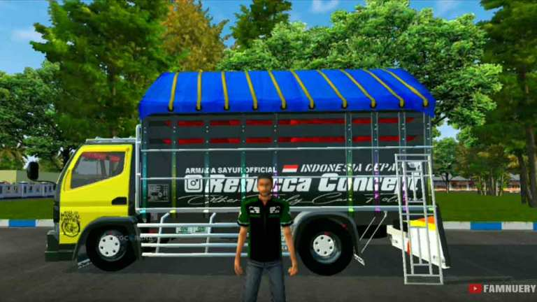 BUSSID Canter Serigala Support Mod + Markas, Texture Hd Obb Mod for V3.4.3