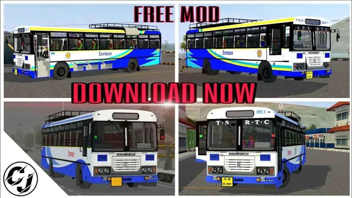 Download Ashok Leyland AP-TSRTC Indian Bus Mod for BUSSID, Ashok Leyland AP-TSRTC Indian Bus Mod, BUSSID Bus Mod, BUSSID Vehicle Mod, CJ Project, Indian Bus Mod BUSSID