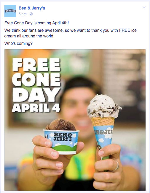 Ben Jerrys FREE Cone Day 2017