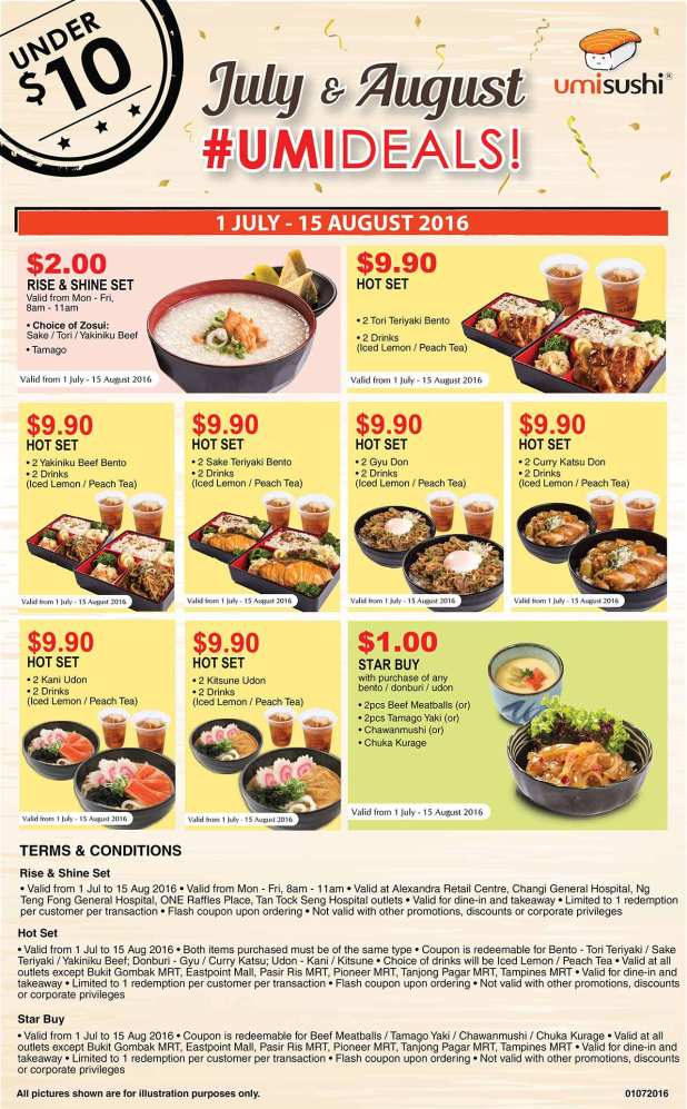 UmiSushi Coupons for Jul and Aug 2016