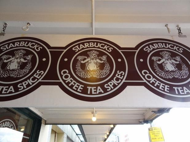 Starbucks original logo showed mermaid breast