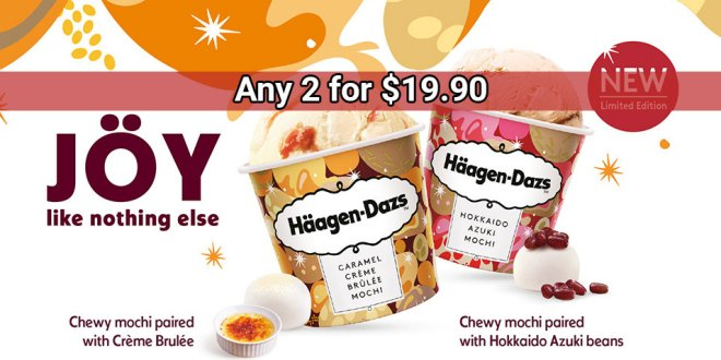 2 tubs Haagen Dazs for $19.90 at FairPrice On