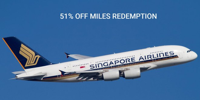 51% OFF Miles redemptions at SingaporeAir