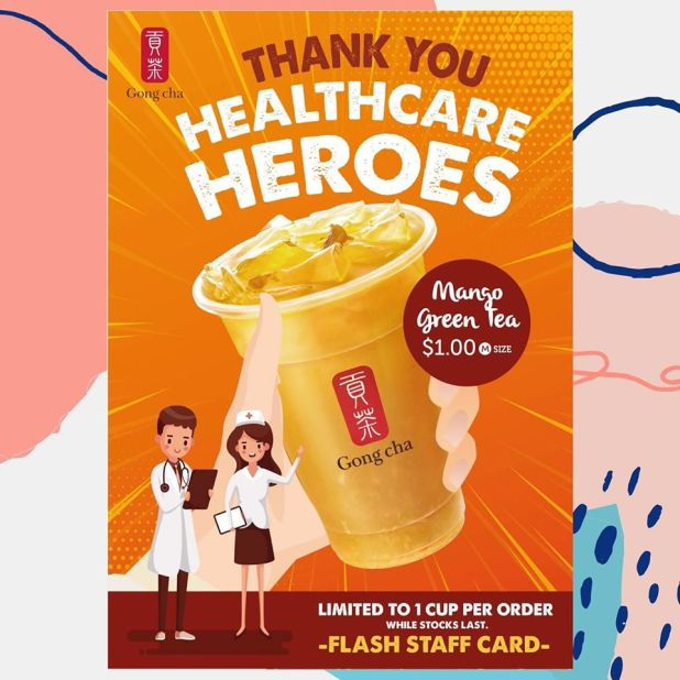 $1 Mango Green Tea for Healthcare Staff at Gong Cha