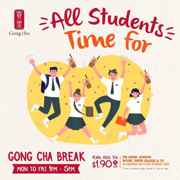 Gong Cha Student Offer - $1.90 Pearl Milk Tea (M)