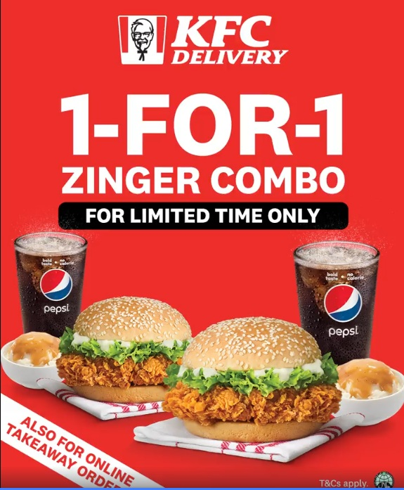 1-for-1 Zinger Combo at KFC for a limited time only