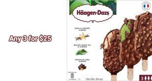 3 Haagen-Dazs Stickbar Ice-Cream for $25 at FairPrice