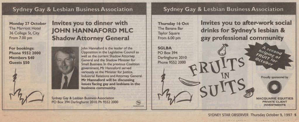 The SGLBA has had a long standing relationship with the Star Observer, this is just one example of the many ads that were run in the printed edition of the newspaper.