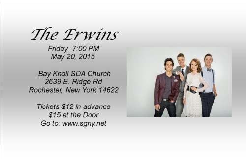 The Erwins Are Coming To New York May 20th