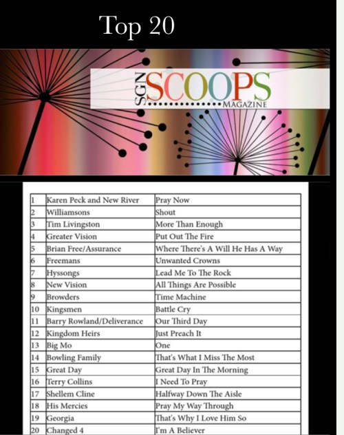 Karen Peck & New River Top This Months SGNScoops Chart.