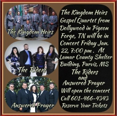 Dollywood's Kingdom Heirs South MS concert Friday, Jan 22, 7pm