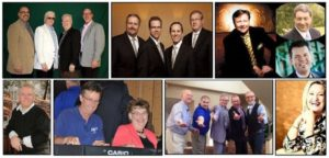 Top Row: Pine Ridge Boys, Blackwood Brothers, Dove Brothers.Second Row: Charlie Griffin, Jeff Stice, Ellen Marsh, The Collectors Quartet, Ann Downing