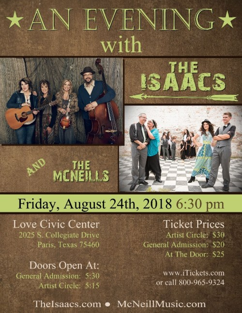 McNeills to Host Isaacs in Texas!