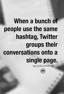 When people use the same hashtag, Twitter groups their conversations together. Sometimes those are Twitter chats.