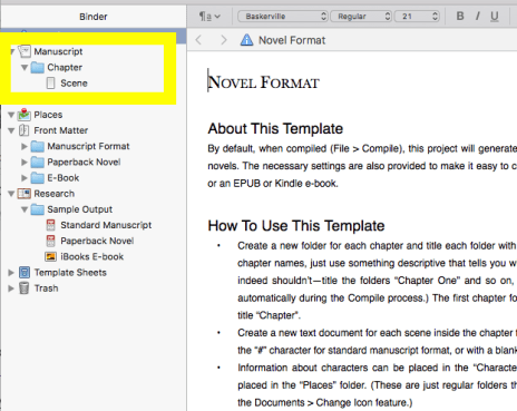 Scrivener screen shot: How to read the page