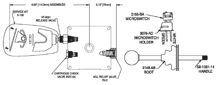 KC05 Relief-Check-Manual Release Valve Kit with Micro-Switch
