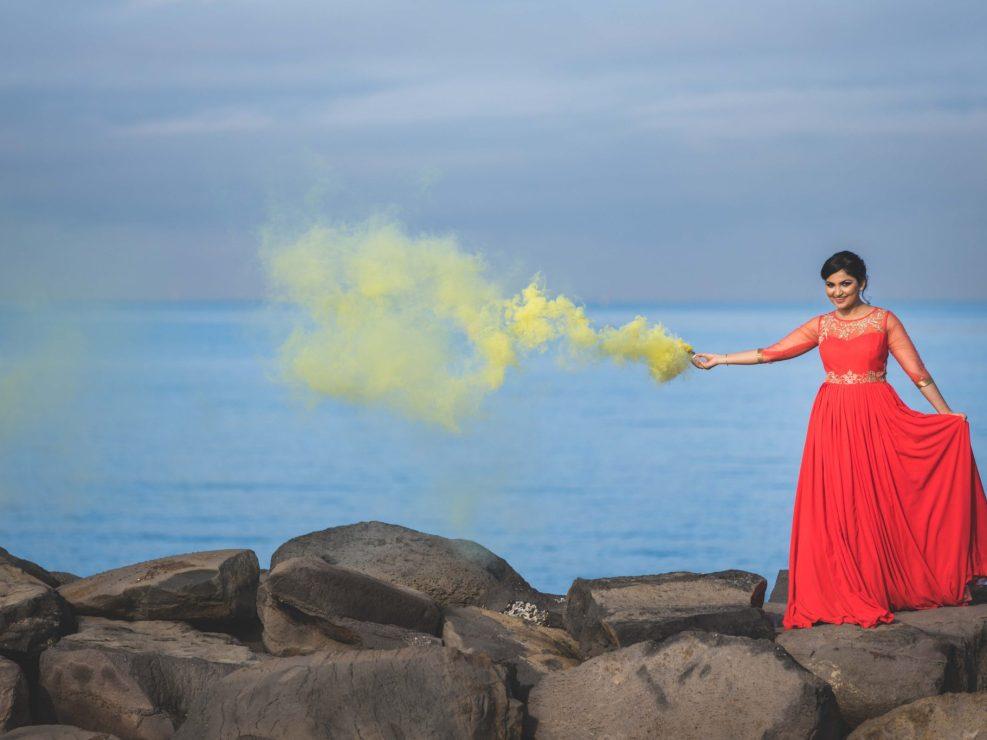 Smoke Bomb Pre Wedding Photography