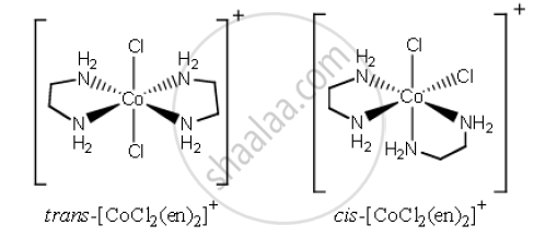 Draw the geometrical isomers of complex [Co(en)2Cl2