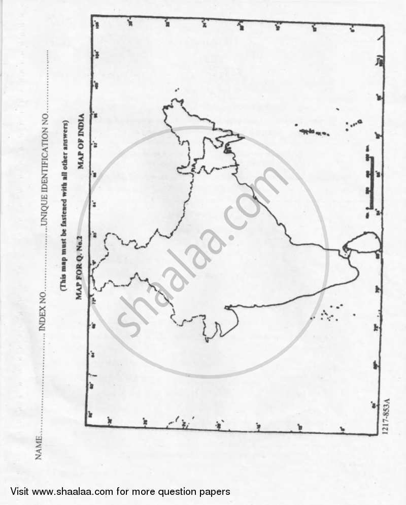 Geography 2016-2017 ISC (Commerce) Class 12 Set 1 question
