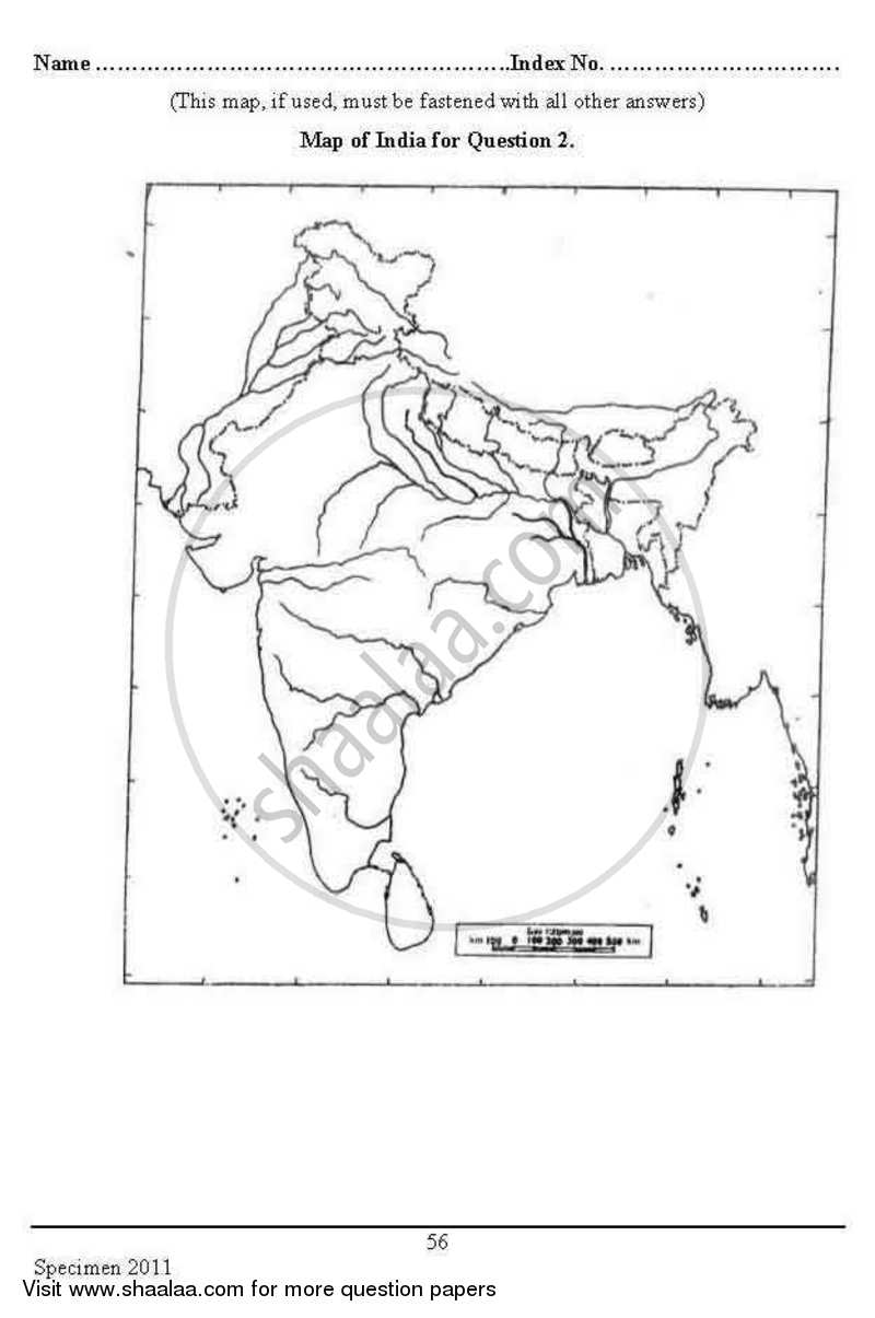 Geography 2012-2013 ICSE Class 10 Specimen question paper
