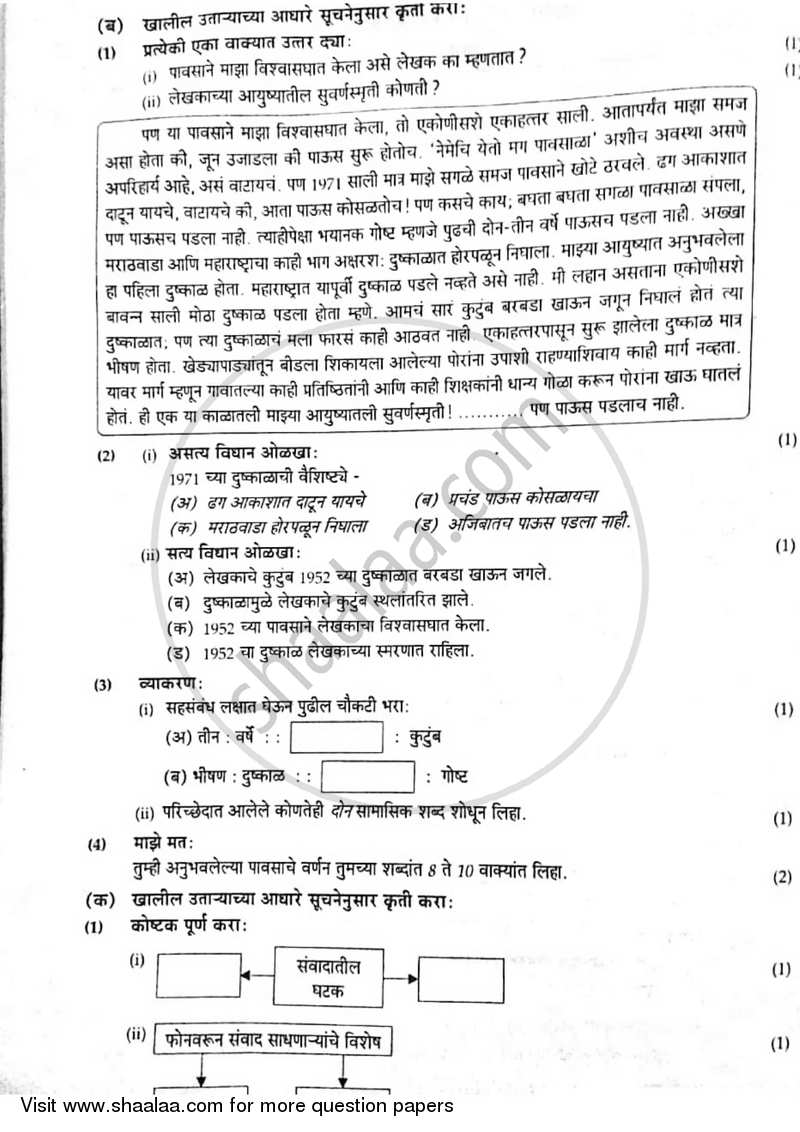 Marathi 2016-2017 SSC (Marathi Medium) Board Exam question