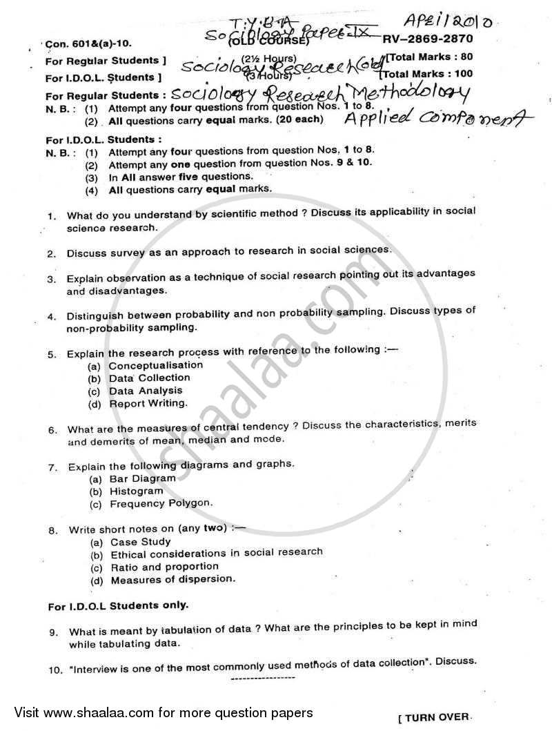 Question Paper Research Methodology 2009 2010 BA Sociology