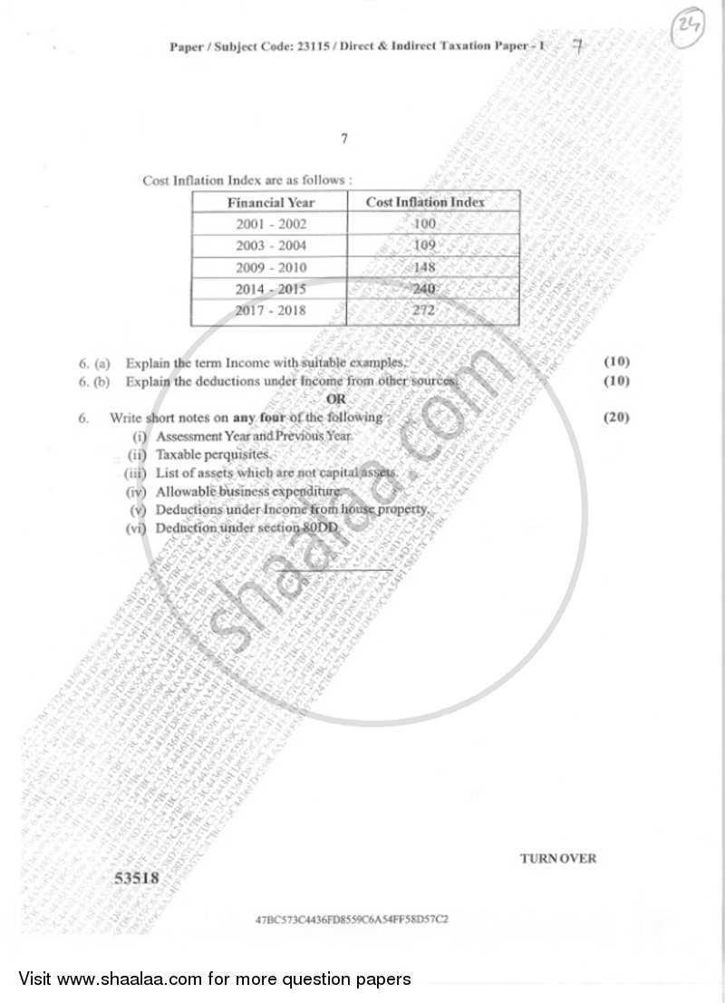 Direct and Indirect Taxation Paper 1 2018-2019 B.Com