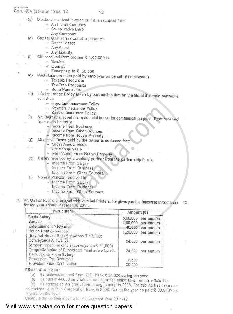 Direct and Indirect Taxation 2011-2012 BCom IDOL