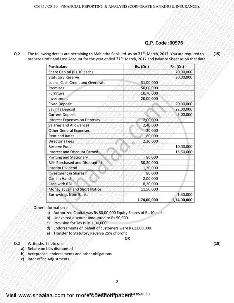 Financial Reporting and Analysis 2017-2018 B.Com Banking