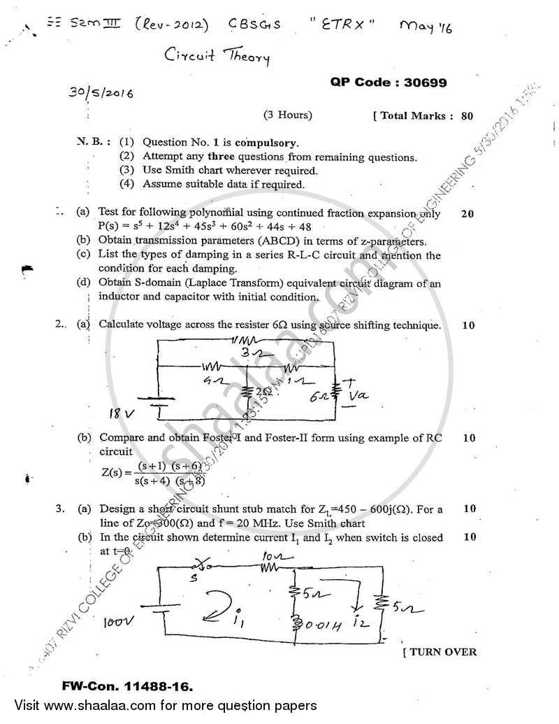 hight resolution of question paper circuit theory 2015 2016 b e semester 3 se second