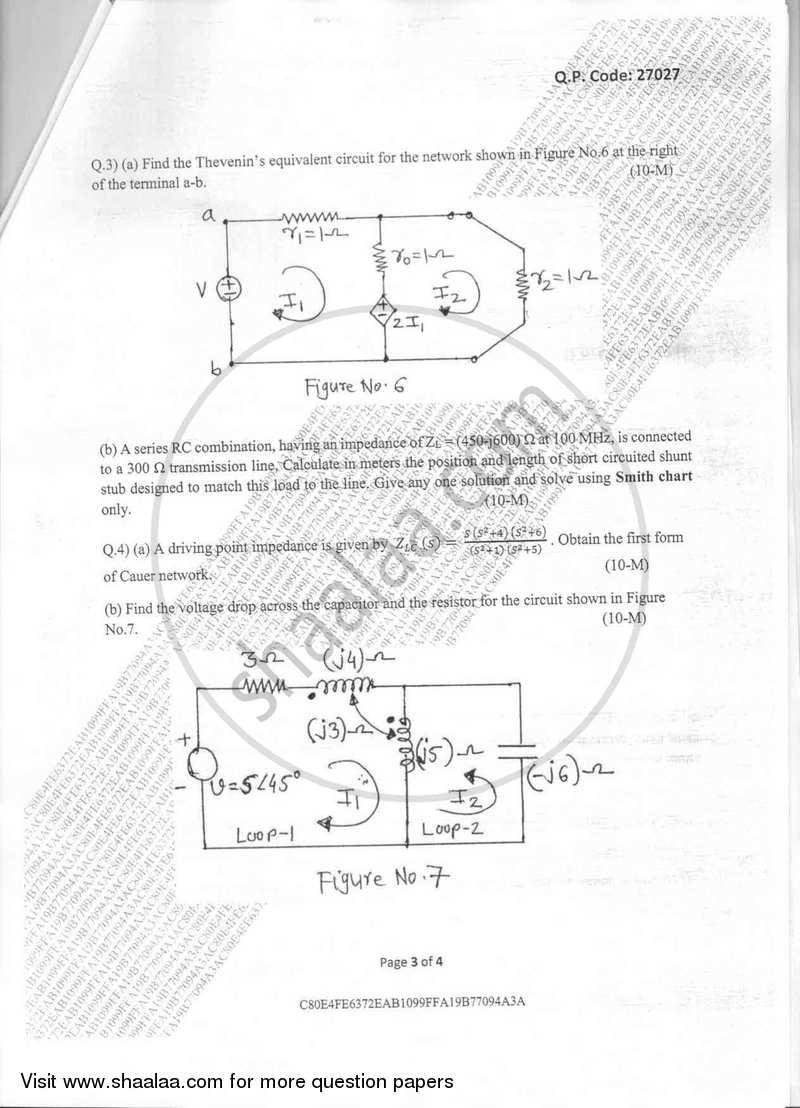 Circuits and Transmission Lines 2017-2018 BE Electronics
