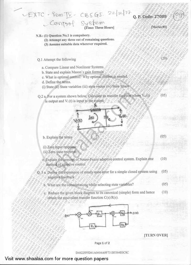 Control System 2017-2018 BE Electronics and