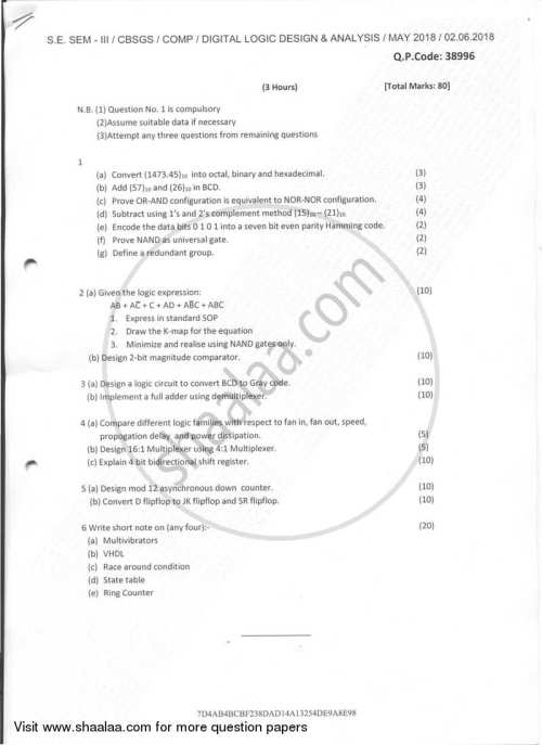 small resolution of question paper digital logic design and analysis 2017 2018 b e semester 3