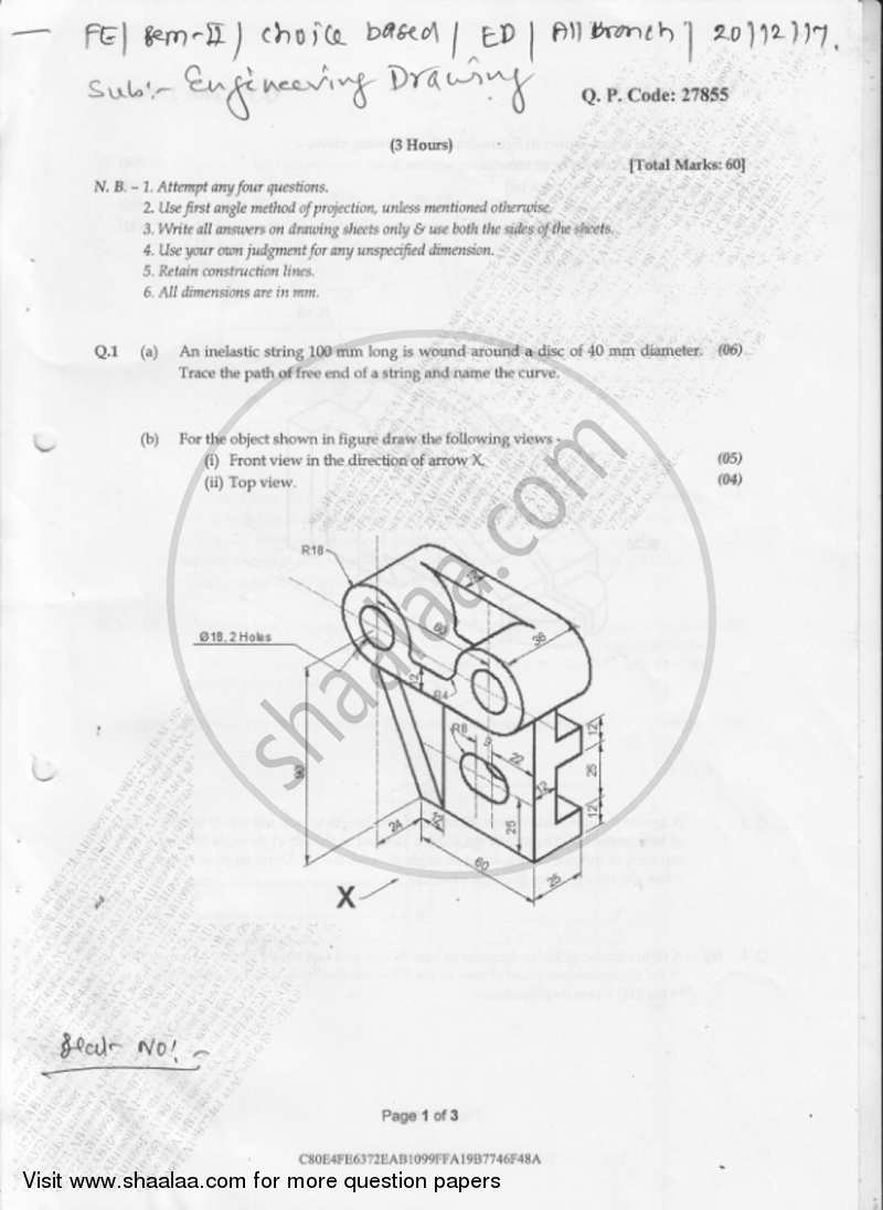 Engineering Drawing 2017-2018 BE Electronics Engineering