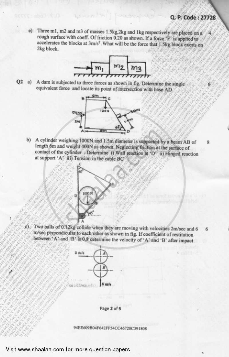 Engineering Mechanics 2017-2018 BE Electronics Engineering