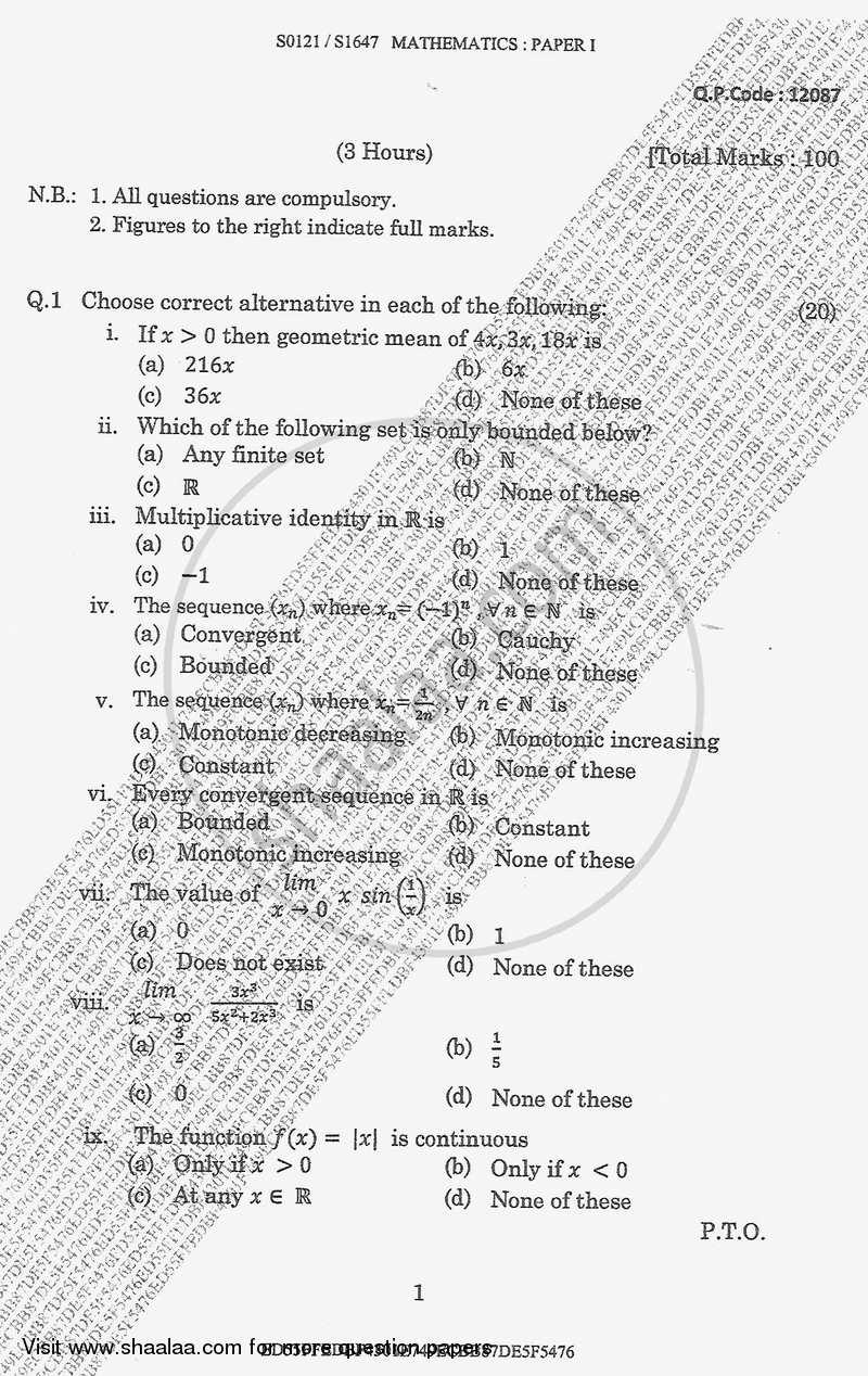 Calculus 1 2017-2018 B.Sc Mathematics Semester 1 (FYBSc