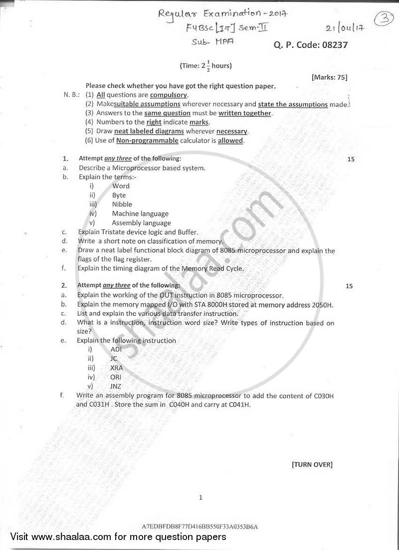 architecture of 8085 microprocessor with block diagram pdf labelled hibiscus flower question paper b sc it information technology semester 2 fybsc i t 2016 2017 download