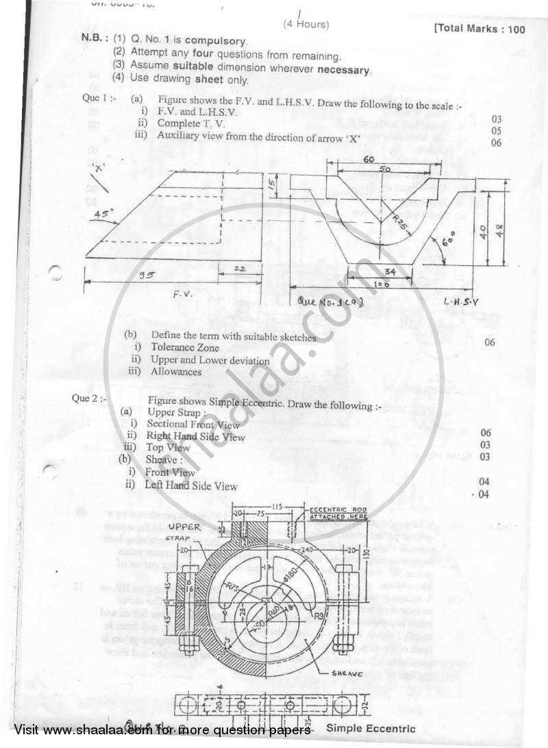 Machine Drawing 2010-2011 BE Mechanical Engineering
