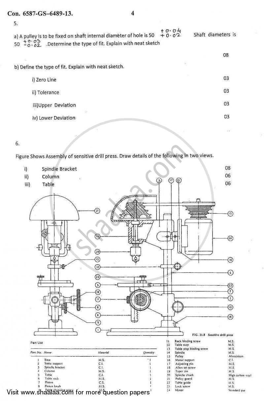 Machine Drawing 2012-2013 BE Mechanical Engineering