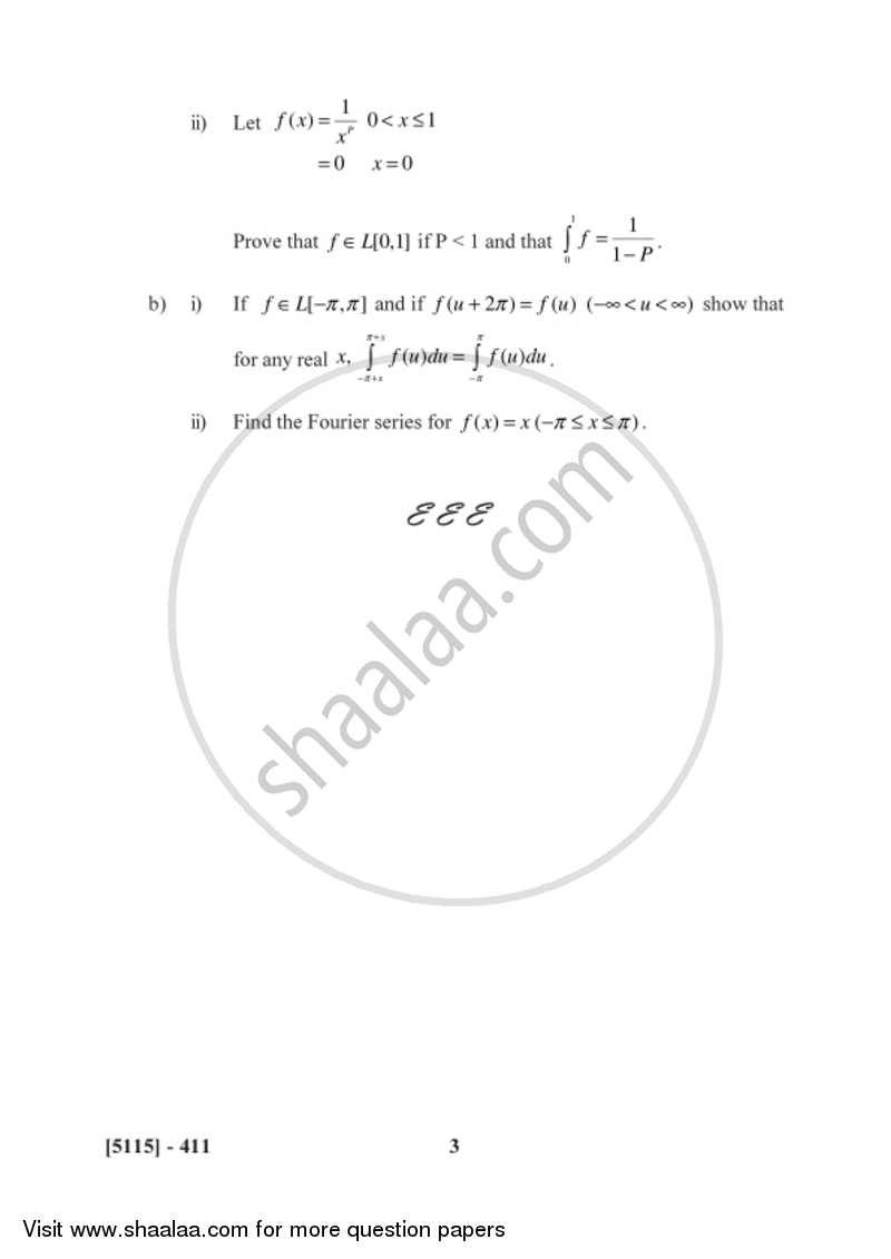 Lebesgue Integration 2016-2017 B.Sc Mathematics Semester 6