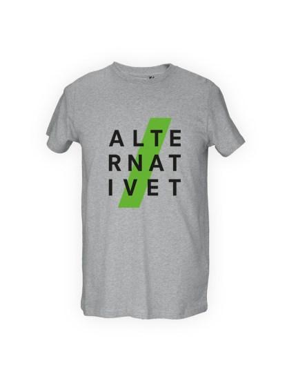 graa herre T-shirt med tryk - ALTE-RNAT-IVET