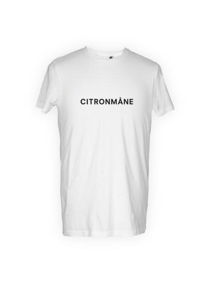 hvid herre T-shirt med tryk - citronmaane