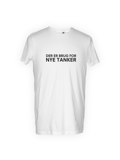 hvid herre T-shirt med tryk - der er brug for nye tanker