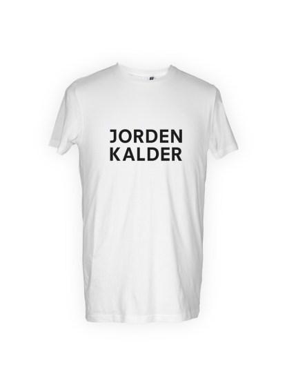hvid herre T-shirt med tryk - jorden kalder
