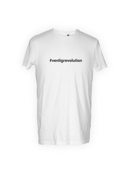 hvid herre T-shirt med tryk - venligrevolution