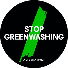 Stor Greenwashing - Vinylklistermærke 100 mm. 1 Stop Greenwashing 100 mm