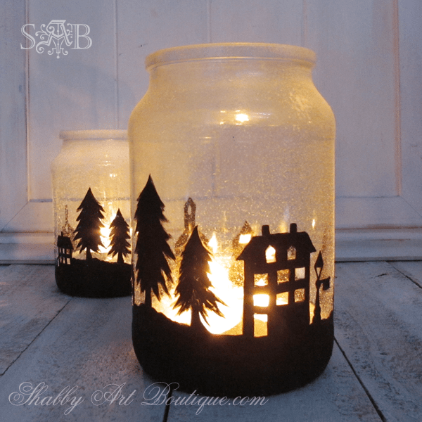 Mason Jar Decorations Christmas Scene Silhouette Candle