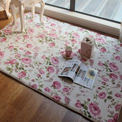 Living Room Floor Mats Low Cost Furniture Fadfay Home Textile Romantic American Country Style Floral Sweet Pink Rose