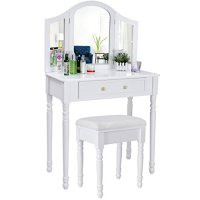 Songmics chic 3 foldable mirrors Dressing Table Set with ...