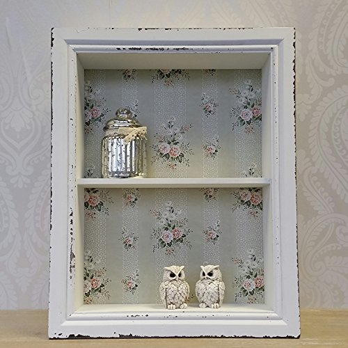 Wooden Wall Display Cabinet Shelf Unit White Pink Shabby